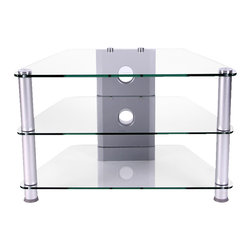 """RTA Home & Office - Corner Design Compact Glass TV stand - The stylish and modern Corner Design Compact Glass TV stand is practical and compact.  Able to accommodate a 32"""" flat panel television this little gem features a cord management system to reduce unattractive wires and two thick 8mm clear tempered glass shelves provide ample storage space for  games, VCRs and DVDs etc.  This sleek & stylish Corner TV Stand with Aluminum Frame & Wire Management features two thick 8mm clear tempered glass shelves and attractive brushed aluminum supports.  The 32"""" wide stand will easily accommodate flat panel TVs up to 32"""" wide.  Fits many TVs and is compact enough to fit in even the smallest of spaces. * Clear glass. Made of strong aluminum. For 32"""" and Below  Plasma/LCD TVs. Perfect for corner or wall display. 2 thick 8mm clear tempered glass shelves provide ample storage space for DVD, gaming and/or stereo components. 20 H X 32 W X 18 D. Cord management system reduces unsightly wires. Maximum weight recommendation is 85 lbs.. Easy to assemble"""