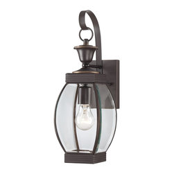 Quoizel - Quoizel OAS8406Z Oasis Transitional Outdoor Wall Sconce - This transitional collection complements many architectural styles and gives the exterior of your home both beauty and a sense of style.  It has clean lines that allow the clear beveled glass to have optimum light output.  The Medici Bronze finish completes the look of this series.