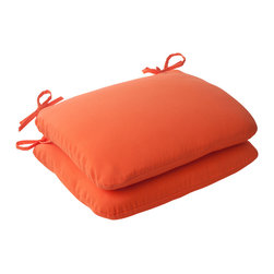 Pillow Perfect - Pillow Perfect Orange Outdoor Seat Cushions (Set of 2) - Add a comfortable and stylish touch to your outdoor furnishings with this set of two seat cushions from Pillow Perfect. These cushions will attach securely with ties.