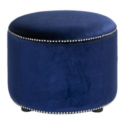 Safavieh - Hogan Ottoman - Royal Blue - The antidote to boxy rooms with rectangular furniture, this classic round ottoman adds welcome curves to any living space. The Hogan ottoman's fashion-right royal blue upholstery is accented with nailhead trim, while black-finished beech wood legs provide transitional flair.