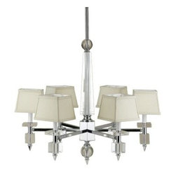 Candice Olson Cluny Chandelier - 29.5L in. - Six square fabric shades shed gently diffused light from the Candice Olson Cluny Chandelier - 29.5L in., creating a welcoming display in your foyer. Featuring a crystal construction and gleaming chrome finish, this chandelier adds a contemporary touch to your home decor.About AF LightingAF Lighting has been among the leading manufacturers of impressive and distinctive lighting designs since 1987. Its goal is to maintain affordability and value even while offering you the latest in style and interior fashion. Headquartered in Pompano Beach, Fla., AF Lighting has showrooms across the country and offers over 800 products through various furniture stores, websites, and interior designers. In 2005, AF Lighting partnered with Candice Olson of HGTV's Divine Design to produce an exclusive lighting collection personally designed by Candice. It's just one example of how AF Lighting is working to bring you the most up-to-date styles for your home.
