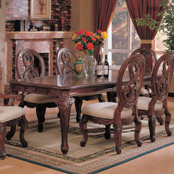 Coaster - Nottingham Collection Dining Table in Cherry - This collection of elaborate carvings and careful detail brings forth the kind of beauty reserved only for the master dinning room. Made of birch solids and veneers.