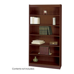 "Safco - 6-Shelf Square-Edge Veneer Bookcase - Mahogany - Restore your reason to work from the office with furnishings that make your workplace feel like home. Clean traditional design fits into any office decor. Top-notch right angles and earth-wise sophistication stand out in the Square-Edge Veneer Bookcase. Exquisitely showcase photographs, keepsakes, literature and resources. With the strength of a forest, two shelving options, both 11-3/4"" deep, accommodates storage and display needs. Standard shelves support up to 100 pounds and steel reinforced shelves support 150 pounds. Each bookcase preserves a custom-craft finish with shelf-lock fasteners for easy assembly."