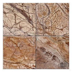 "Cafe Forest Brown Polished Marble Floor Tile 12"" x 12"" - Lot of 150 Tiles - 12"" x 12"" thick Cafe Rain Forest Brown Polished Marble Tiles."
