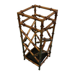 Pre-owned Faux Bamboo Aged Gold Finish Tole Umbrella Stand - This is a vintage Tole Faux Bamboo Umbrella stand - probably Italian.  Square metal black tray in base that can be taken out to be cleaned. The finish is amazing  in the  aged brushed gold finish. Great condition!