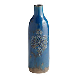 Cyan Design - Cyan Design Garden Grove Traditional Vase - Large X-20460 - A generous size and classic bottle shape are paired with traditional detailing on this Cyan Design decorative vase. From the Garden Grove Collection, this traditional vase features terra cotta construction and a Blue Glaze finish with aged detailing throughout for a touch of charm.
