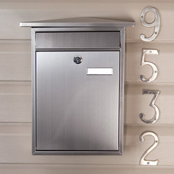 Home Locking Wall-Mount Mailbox - Stainless Steel - The Home Locking Wall-Mount Stainless Steel Mailbox features a peaked roofline and a front letter slot. This sleek mailbox will coordinate with any home's decor.