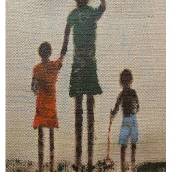 Africa On Burlap (Original) by Anne Jenkins - I am from South Africa and often depict scenes from memory. Burlap is an ethnic fabric and it symbolises so much of the feel of Africa to me.
