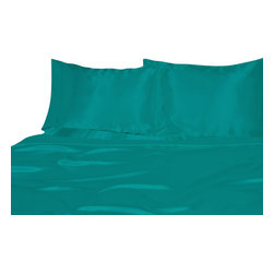 Ultra Soft Satin Silk Duvet Cover Twin , Aqua Blue - You are buying 1 Duvet Cover (68x90 )  only.