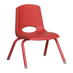 "Ecr4kids - Ecr4Kids 12"" Stackable School Chair - Matching Legs Red Pack Of 6 - Stackable school chair with molded seat, vented back and heavy-duty tubular steel legs.Innovative school stack chair features molded seat with vented back has reinforced ribbing in back and under seat for strength. Frame features 16-gauge tubular steel legs and steel lower back support with color-coordinated finish. Full MIG welded frame. No penetration through the seat surface. SuperGlide composite ball glides for durability and protection on hard floors and carpet. Easy to clean and sanitize. Seat Height 12"""