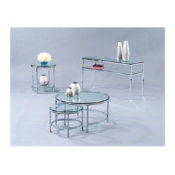 Bassett Mirror - 3 Pc Table Set w Chrome Plated Accents & Glas - If you thought you couldn't afford to give your room a stylish new makeover, think again.  Now you can with this incredible four-piece Patinoire tables set.  Gleaming chrome plated bases with sparkling crystal clear glass tops combine for a totally clean and sophisticated look.  The clever cocktail table even features a smaller nested table underneath.  Just roll it out when you need it and store it when you don't.  What a fantastic price for so much style. Patinoire Collection. Set includes round cocktail table with nested roll-out table on casters, round end table and entertainment console. Lower shelf storage. Chrome plated. Polished bull-nose glass tops. Dimensions:. Round cocktail table: 34 in. L x 34 in. W x 18 in. H (43 lbs.). Round end table: 22 in. L x 22 in. W x 25 in. H (29 lbs.). Entertainment console: 54 in. L x 18 in. W x 30 in. H (67 lbs.)