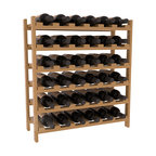 36 Bottle Stackable Wine Rack in Pine with Oak Stain + Satin Finish - A pair of discounted wine racks allow double wine storage at a low price. This rack accommodates all 750ml bottles, Pinots and Champagnes. The quintessential DIY wine rack kit. Your satisfaction is guaranteed.