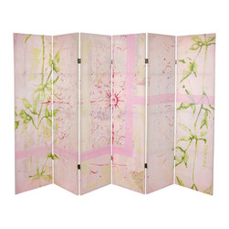 Oriental Furniture - 5 1/4 ft. Pink Harmony Canvas Room Divider 6 Panel - Collaged, hand-painted papers and printed leaves are the signature touch of the artist Gita in this delicate pastel atmospheric screen. Calm, quiet and appreciative of nature and beauty, Gita provides a soothing mood of summer gardens.