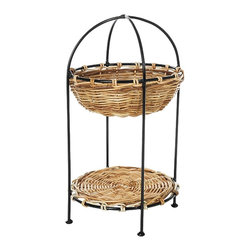 Eco Displayware - 2 Tier Round Rattan Basket Display Stand in N - 2 Tiers. Great for closet, bath, pantry, office or toy and game storage. Earth friendly. 11.5 in. Dia. x 15 in. H (7.21 lbs.)These natural colored baskets add warmth and charm and keep you organized.