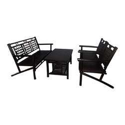 "Master Garden Products - Solid Dark Brown Bamboo Lounger Set - Our bamboo lounge set is made of natural engineered solid bamboo. Perfect for places such patios, decks, great for the indoors and outdoors. Available in a dark brown stain color with semi-gloss lacquer finish. Couch 28""D x 60""L x 32""H Chair 24W x 28"" D x 32""H Table 28""D x 40""L x 20""H"