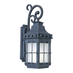 Nantucket EE-Outdoor Wall Mount - Nantucket EE is a traditional, early American style, energy saving collection from Maxim Lighting International in Country Forge finish with Frosted Seedy glass.