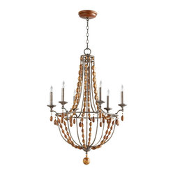 Cyan Design - Middleton Chandelier - Wrought iron and wood chandelier with canyon bronze finish. Accepts 6 60W C bulbs.