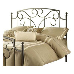 Hillsdale Furniture - Hillsdale Cartwright Metal Headboard with Rails in Magnesium Pewter - King - Dynamic and sophisticated in design, the Cartwright bed is a crowd-Pleaser with its pewter finish and organic curvilinear decoration. Ideal for elevating simple bedroom decor, the Cartwright is available in full, queen and king sizes. Some assembly required.