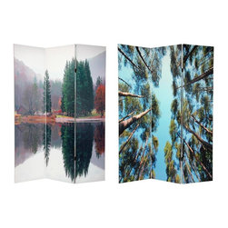 Oriental Unlimted - 3-Panel Double Sided Pine Trees Room Divider - One double-sided divider, both sides shown in image. Pines on both front and back. On the front, a unique photograph of a pine grove shot with the camera pointing up at the sky. Back side, a lovely nature photo of a beautiful misty morning. Outstanding home d̩cor art accent as well as a fine quality folding screen. Double layers of canvas provide privacy as well as a stunning beautiful and unique decorative floor screen. Great for dividing space, temporarily blocking a window or doorway or providing a burst of color and interest in a barren corner. These large and beautiful images can be mounted on the wall behind a sofa, bed or on any bare wall. Well crafted and sturdy kiln dried wood frame panels covered with hardy and lightweight, poly-cotton blend canvas. Each panel: 15.75 in. W x 70.88 in. H. Base weight: 8.25 lbs.