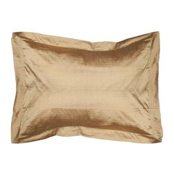Gold Silk Standard Pillow Sham - Layering on the perfect throw pillow is the cherry on top for achieving an effortlessly styled effect in your room. This 100% silk sham is a luxurious accent to your bedroom. The insert is not included.  We have a few in stock, so please contact support@chairish.com to purchase more than one.