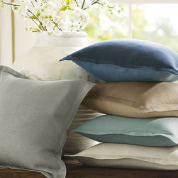 Tonal Linen Flange Pillow Cover - You just can't have too many pillows, and these knife-edge ones are classic and simple.