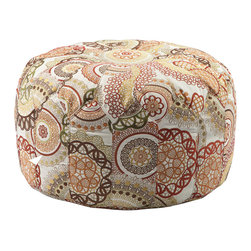 Madison Park - Madison Park Kelsey Round Pouf Ottoman - This versatile oversized ottoman pouf will make a statement in any home with its distinctive stitching pattern and soft appearance. Fabrication: 100% Polyester Filling: Polystyrene Beads