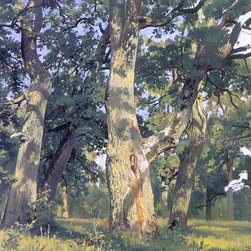 """Ivan Ivanovich Shishkin Oaks, Evening (Study for Picture Oak-Wood)  Print - 16"""" x 24"""" Ivan Ivanovich Shishkin Oaks, Evening (Study for Picture Oak-Wood) premium archival print reproduced to meet museum quality standards. Our museum quality archival prints are produced using high-precision print technology for a more accurate reproduction printed on high quality, heavyweight matte presentation paper with fade-resistant, archival inks. Our progressive business model allows us to offer works of art to you at the best wholesale pricing, significantly less than art gallery prices, affordable to all. This line of artwork is produced with extra white border space (if you choose to have it framed, for your framer to work with to frame properly or utilize a larger mat and/or frame).  We present a comprehensive collection of exceptional art reproductions byIvan Ivanovich Shishkin."""