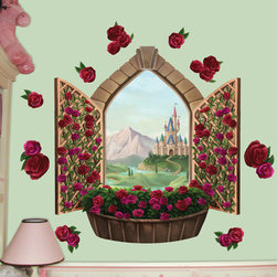 Create-A-Mural - Rose Castle Window Mural - Every little princess deserves a beautiful room-why not design one one using a beautifully hand painted looking castle window with roses climbing upon it? This mural makes it easy to create a princess room for you daughter. Mural is 3' with assorted individual rose decals.