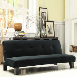 Tribecca Home - TRIBECCA HOME Bento Black Microfiber Suede Modern Mini Futon Sofa Bed - Add extra sleeping space to your living room with this comfy futon sofa bed. It can quickly fold out into a bed in seconds,so you can easily accommodate surprise house guests. It comes in a classic black that works well with most living room furniture.