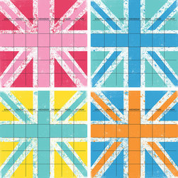 """WallPops - Jack 4 Piece Calendar Wall Art Decal Kit - That Union Jack  seems to be everywhere these days! WallPops """"Jack"""" is a fun and  colorful way to keep track of your comings and goings for 4 months at a  time!  Jack 4 Piece Calendar Set  WallPops has four 13"""" x 13"""" dry-erase sheets and includes a  dry-erase marker.  WallPops are always  repositionable and removable."""