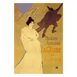 """Buyenlarge.com, Inc. - La Gitane De Richepin: Theatre Antoine - Paper Poster 12"""" x 18"""" - Henri de Toulouse-Lautrec (1864 - 1901) was a French painter, printmaker, draftsman, and illustrator. The period he created his art was known as the Belle poque and his focus was on the decadence in Parisian society. Lautrec embraced the idea of designing programs for the more experimental theatres, as well as posters advertising performances, such as La Gitane by Richepin at the Theatre Antoine, portraying the thespians he was so taken with."""