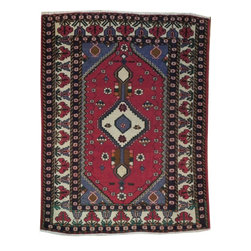 Harooni - Rectangular Rug 5' X 7' Hamadan Trendy Hand Woven Red Persian Carpet Rug - Inspired by timeless Persian Hamadan designs crafted with the softest Wool available. Genuine Handmade 5 ft. x 7 ft. Persian Hamadan Rug from Iran. Exact size of this Persian Hamadan is 5' 0'' x 6' 8'' and it is in Pre-Owned-Excellent condition with predominant Red field color and Ivory border, with the following accent colors: Red, Ivory, Green, Blue. This is 100% Hand Knotted Red 5 ft. x 7 ft. Persian Hamadan Rug. It is not machine made, nor hand-tufted, it is authentic hand knotted 5 ft. x 7 ft. Rug, imported from Iran. Please refer to the last picture (the back of the Rug), which shows the authenticity of the weave.