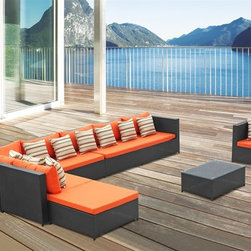 Fine Mod Imports - Garden 7PC Outdoor Sectional Set with Orange Cushions - Features: