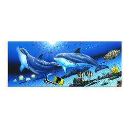 """Ready2HangArt - Ready2hangart David Dunleavy 'Dolphins' Canvas Wall Art, 8"""" X 20"""" Inch - This beautiful canvas wall art brought to you by Ready2hangart from renowned artist David Dunleavy exemplifies his passion for marine life while translating it to detailed underwater paintings.  It is fully finished, arriving ready to hang on the wall of your choice."""