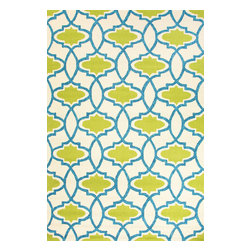 Jaipur Rugs - Moroccan Pattern Polypropylene Blue/Green Indoor-Outdoor Area Rug ( 5x7.6 ) - Inspired by the rich history and range of design movements that have defined the architecture of Spain's cultural center, the Barcelona Collection brings a transitional flair to any indoor or outdoor space. Whether the style leans towards fun, boldly-scaled flourishes or understated simplicity, this broad range offers something for every taste. Artfully developed in hand-hooked polypropylene, Barcelona pairs the durability necessary to withstand the elements with the colorful spirit of the Catalonian countryside.
