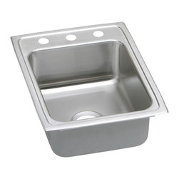 "Elkay - 17"" x 22"" x 5"" Single Bowl Kitchen Sink - Product height: 23.38. Product min width: 9.06. Product depth: 23.4418. Gauge stainless steel 17"" x 22"" x 5"" single bowl top mount kitchen sink. Elevate the culinary experience with the professional grade gourmet collection. Gourmet (lustertone) stainless steel single bowl top mount quick-clip sink. Quick-clip mounting system."