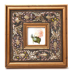 """Traders and Company - Enamel Inlaid 3x3 Wood Picture Frame w/ Jewels, 8.5""""Lx1.5""""Wx8.5""""H - Wheatleigh - Crafted from wood and given a classically antiqued look, each frame is dramatically inlaid with swirled resinous enamel. Embedded colorful rhinestone jewels dot the design, adding sparkle and shimmer to your photos. Each frame comes with an attached kickstand for desktop use, or hooks for vertical or horizontal wall hanging. Fits 3""""x3"""" photos. Alternate shapes & styles sold separately. Dimensions: 8.5""""Lx1.5""""Wx8.5""""H"""