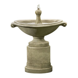 Campania - Borghese Garden Water Fountain - The Borghese Fountain is the perfect fountain for the eclectic person who wants a unique design. The water bubbles from a finial into the oblong basin, where it flows in two steams, into the basin below. Create a relaxing atmosphere in your garden or yard.