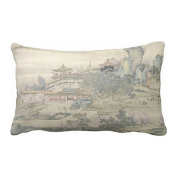 "Poetic Pillow - Along The Riverbank Pillow P2 - 16"" X 24"" Pillow - This pillow was inspired by the fine works of art in imperial China. From Tang dynasty to Qing dynasty we found beautiful calligraphic works depicting botanical floras, cultural traditions, landscape and scenic views. Transform any space with a pillow from Poetic Pillow. Each pillow is inspired by fine works of art and printed on the front and back. Covers are made of pre-shrunk satin-like polyester fabric. All seams are finished to prevent fraying and pillow covers have a knife edge finish.. A concealed zipper allows for ease of inputting pillow inserts. A duck feather insert is included for soft yet supportive feel. Cushion inserts are encased in a cotton cover and filled with 100% duck feather. All research, design and packaging is completed in Oakland, California."