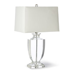 Kathy Kuo Home - Kedrova Hollywood Regency Crystal Urn Table Lamp - Things look crystal clear in the light of this stunning lamp. A classic shape in a modern material, traditional design inspires this contemporary lamp with fresh life. In a room with bright bursts of color, this lamp will set off your favorite furniture and most beloved photographs.