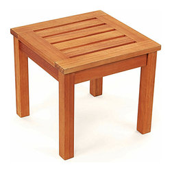 Achla - Prince Outdoor End Table - These convenient end tables come in sets of two, and are perfect for ornaments, plants, or when entertaining outdoors during the fine summer months.  The Prince End Table is made from elegant Eucalyptus wood, which we have found to offer the best combination of stylish good looks and robust good construction. * Made from Eucalyptus Grandis wood. 23 in. W x 23 in. D x 17 in. H