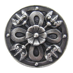 "Notting Hill - Notting Hill Celtic Shield Knob - Antique Pewter - Notting Hill Decorative Hardware creates distinctive, high-end decorative cabinet hardware. Our cabinet knobs and handles are hand-cast of solid fine pewter and bronze with a variety of finishes. Notting Hill's decorative kitchen hardware features classic designs with exceptional detail and craftsmanship. Our collections offer decorative knobs, pulls, bin pulls, hinge plates, cabinet backplates, and appliance pulls. Dimensions: 1-1/8"" diameter"