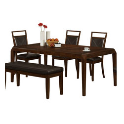"Monarch Specialties - Monarch Specialties 78 x 42 Dining Table with 18 Inch Leaf - This dining table offers rich design and transitional styling that invites a relaxed setting into your home. Finished in a triangle-designed brown oak veneer top, this clean lined rectangular shaped dining table will create the perfect look for intimate dinners or casual get together. This piece features thick tapered legs and an 18"" extendible leaf to entertain up to six guests. What's included: Dining Table (1)."