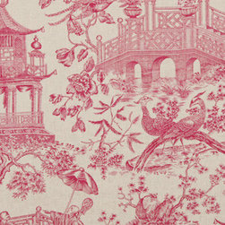 Full Sails Fabric, Azalea - Full Sails by Robert Allen is a very elegant pink chinoiserie fabric. Use it in a bedroom for an upholstered headboard and curtains.