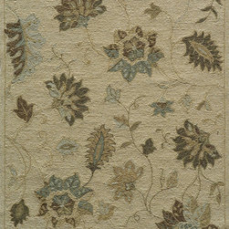 Momeni - Momeni Veranda Outdoor / Indoor Floral Sand 8' x 1' Rug by RugLots - Elegant traditional designs and subtle transitional motifs adorn these unique outdoor rugs. Hand-hooked of 100% polypropylene, Veranda is completely outdoor-friendly. With their EZ Care system, you just hose them down and they will offer years of outdoor enjoyment. UV protected and mildew resistant.