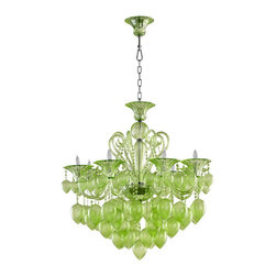 Cyan Design - Cyan Design Bella Vetro Transitional Chandelier X-50250 - Add some flair and elegance to your home with this colorful Cyan Design chandelier. From the Bella Vetro Collection, this transitional chandelier features a brilliant blend of vibrant green glass and stunning details, including tear drops, scrolled arms, beaded detailing and more.