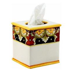 Artistica - Hand Made in Italy - DERUTA VARIO: Square Tissues Box Cover - DERUTA VARIO VR4