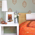 Turkish Flower Stencil - This lovely Turkish Flower stencil from Royal Design Studio can be used alone as an accent pillow or furniture stencil, or repeat it as shown to create an exotic allover stencil pattern on walls or curtains.