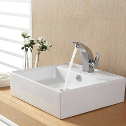 Kraus - Kraus White Square Ceramic Sink and Illusio Basin Faucet - Add a touch of elegance to your bathroom with a ceramic sink combo