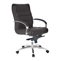 At the Office - 3 Series Mid Back Chair - Why not get some work done in comfort? This smart-looking office chair features a padded backrest and seating area, slightly curved armrests and a five-caster base.